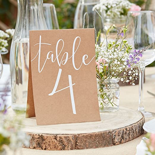 Mesa de y números de mesa (con números 1 – 12 de cartón en blanco ...