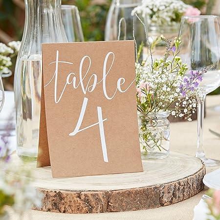 Mesa de y números de mesa (con números 1 - 12 de cartón en ...