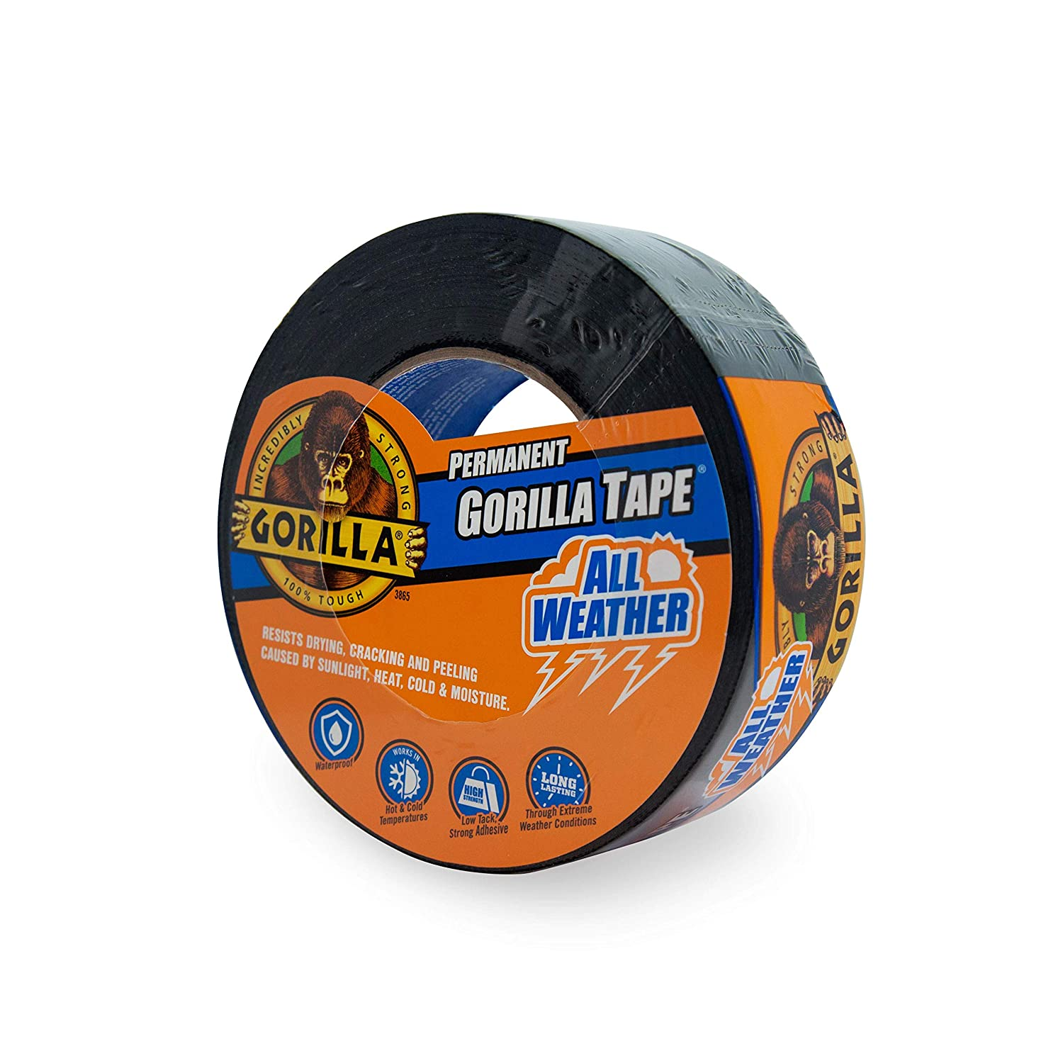 "Gorilla All Weather Outdoor Waterproof Duct Tape, UV and Temperature Resistant, 1.88"" x 25 yd, Black (Pack of 1)"