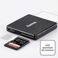 SanDisk Extreme PRO 64GB SDXC Speicherkarte bis zu 170 MB/Sek + Hama USB 3.0 Mulit-Kartenlesegerät (Card-Reader)