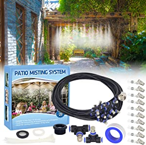 Tesmotor Misting System for Cooling, 26FT Misting Line + 11 Brass Nozzles Outdoor Misters for Cooling, Misting System for Patio Garden Lawn Pool Umbrella Trampoline