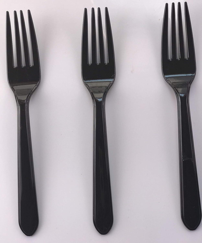 100 x Black Plastic Forks Strong Heavy Duty Reusable Disposable Dessert Dinner Starter Cutlery Thali Outlet
