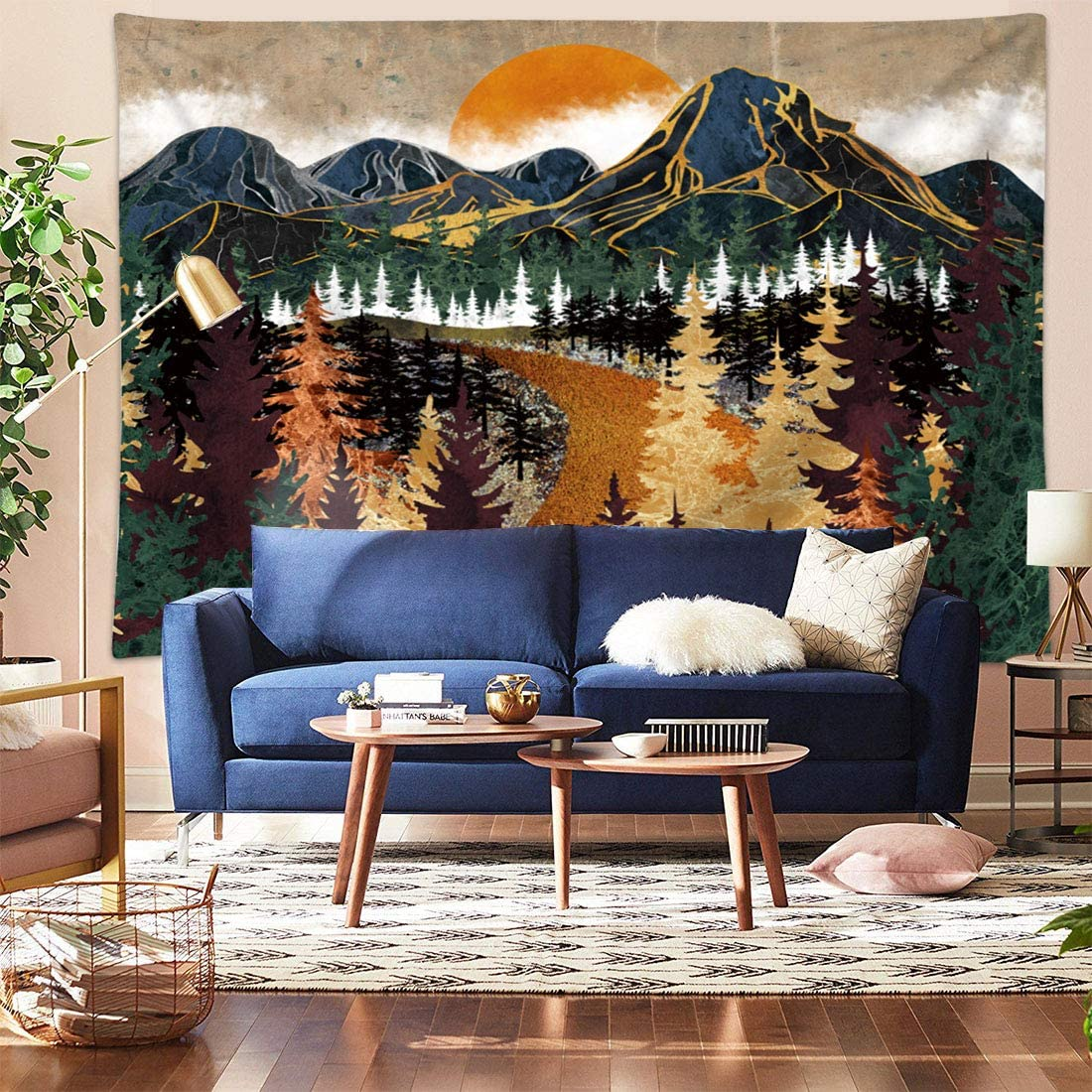 """Kernorv Mountain Sun Forest Tree Tapestry Wall Hanging Mandala Bohemian Nature Landscape Art Wall Tapestry for Living Room Bedroom Dorm Home Decor (59"""" x 78.7"""")"""