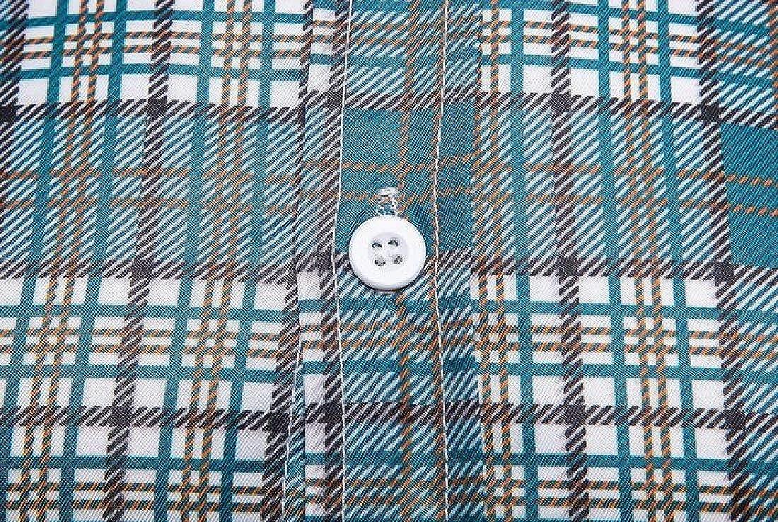 KLJR Men Long Sleeve Business Button Down Casual Plaid Print Slim Dress Shirts