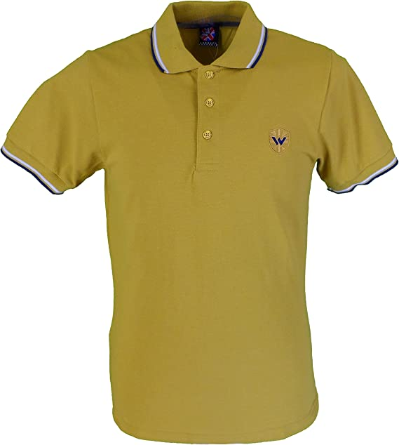 mustard yellow polo shirt