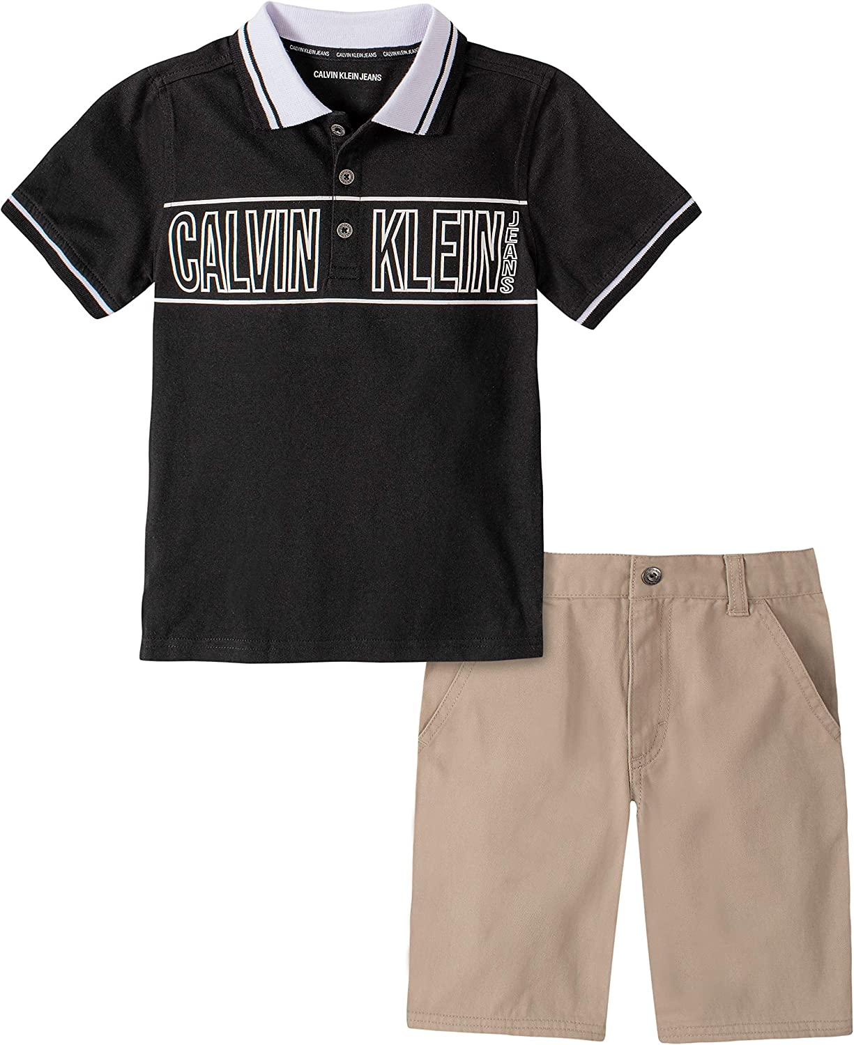 Calvin Klein Boys' 2 Pieces Polo Shorts Set