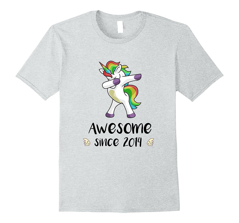 Awesome Since 2014 T Shirt Dab Unicorn 3rd Birthday