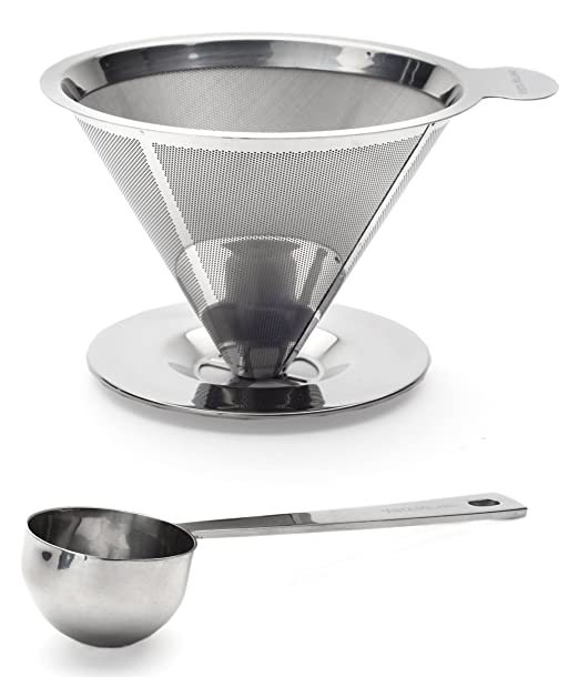 Vierta sobre cafetera goteo sin papel reutilizable filtro de café ...