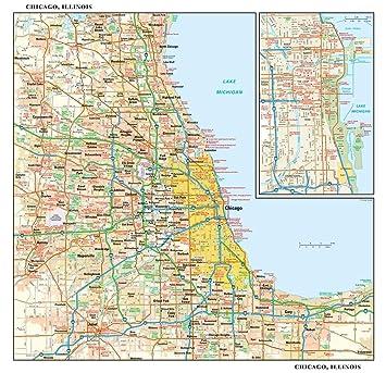 Amazon Com Chicago Illinois Wall Map 15 X 14 5 Laminated