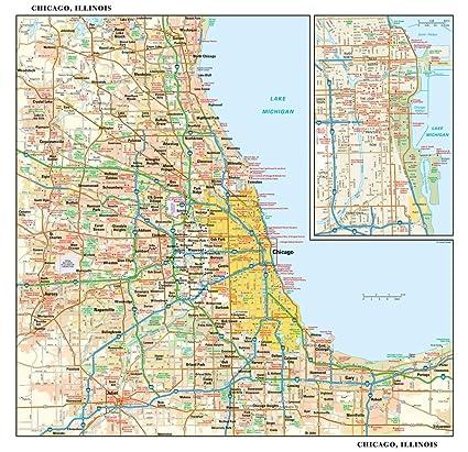 Amazon.com : Chicago, Illinois Wall Map - 15 x 14.5 inches ...