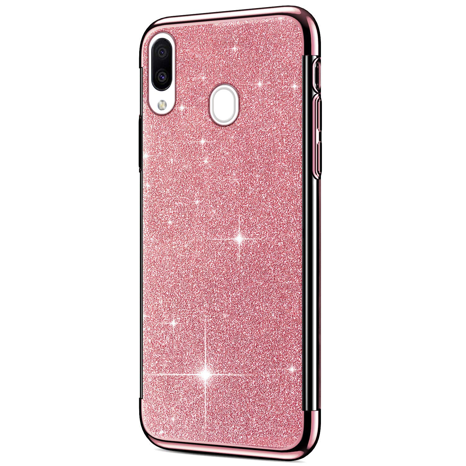 PHEZEN Case for Samsung Galaxy A50 Case Girls Glitter Sparkle Bling Case Thin Slim Cases Chrome Plating Bumper Soft Clear TPU Silicone Rubber Protective Phone Case for Galaxy A50,Red