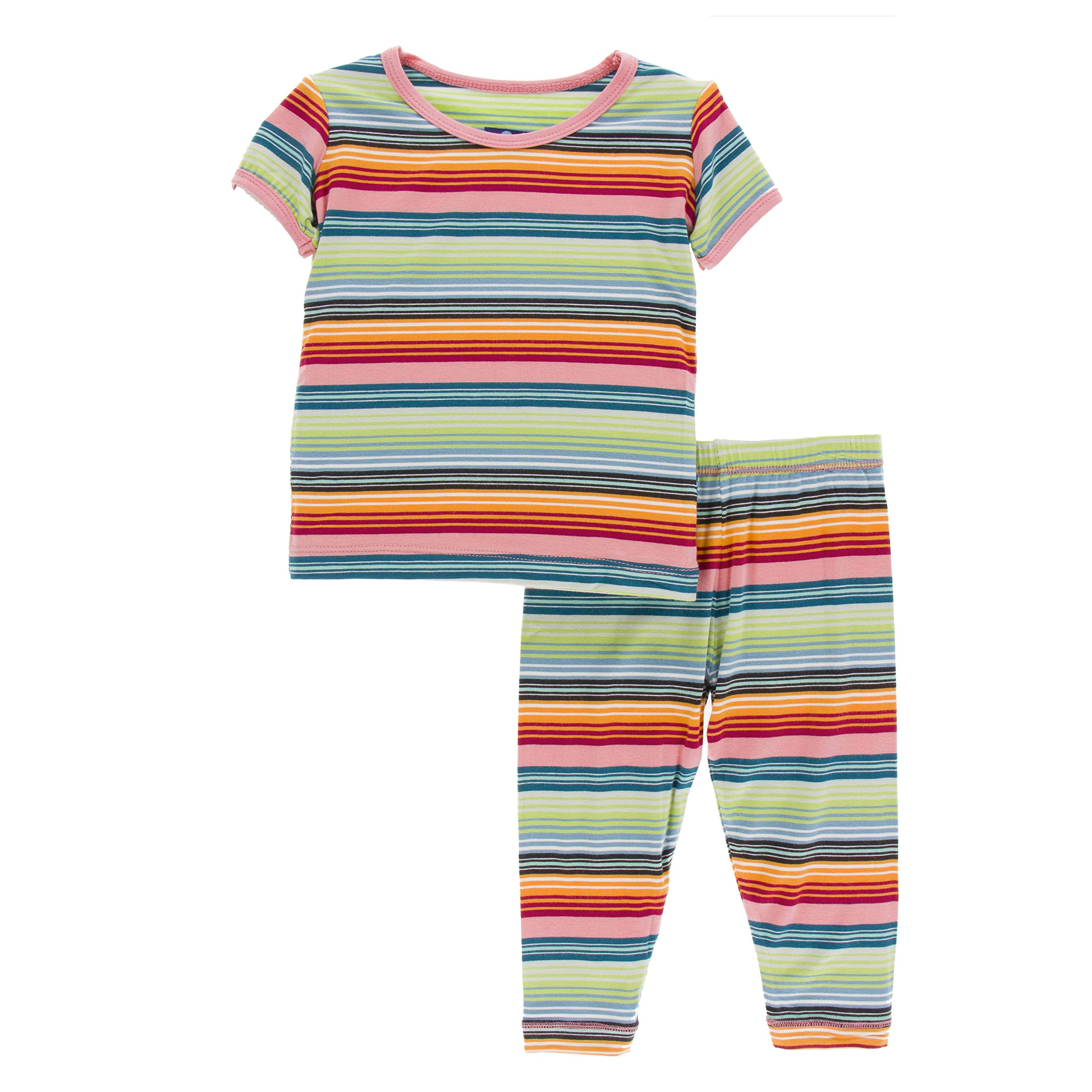 Kickee Pants Little Girls Print Short Sleeve Pajama Set - Cancun Strawberry Stripe, 4T by Kickee Pants