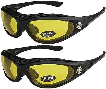 2er Pack Choppers 911 Sonnenbrillen Motorradbrille Sportbrille Radbrille - 1x Modell 03 (schwarz / gelb getönt) und 1x Modell 03 (schwarz / gelb getönt) - Modell 03 + 03 - GAHNsl2r3A