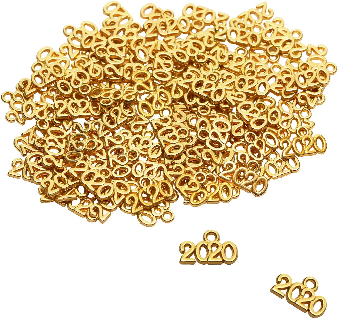 Tupalizy 100pcs 9x13mm Mini Alloy Year 2020 Charm for Graduation Tassel Necklace Pendant Bracelet Earrings Keychain Jewelry Findings Making Accessory DIY Crafting Wedding Decor (Gold)