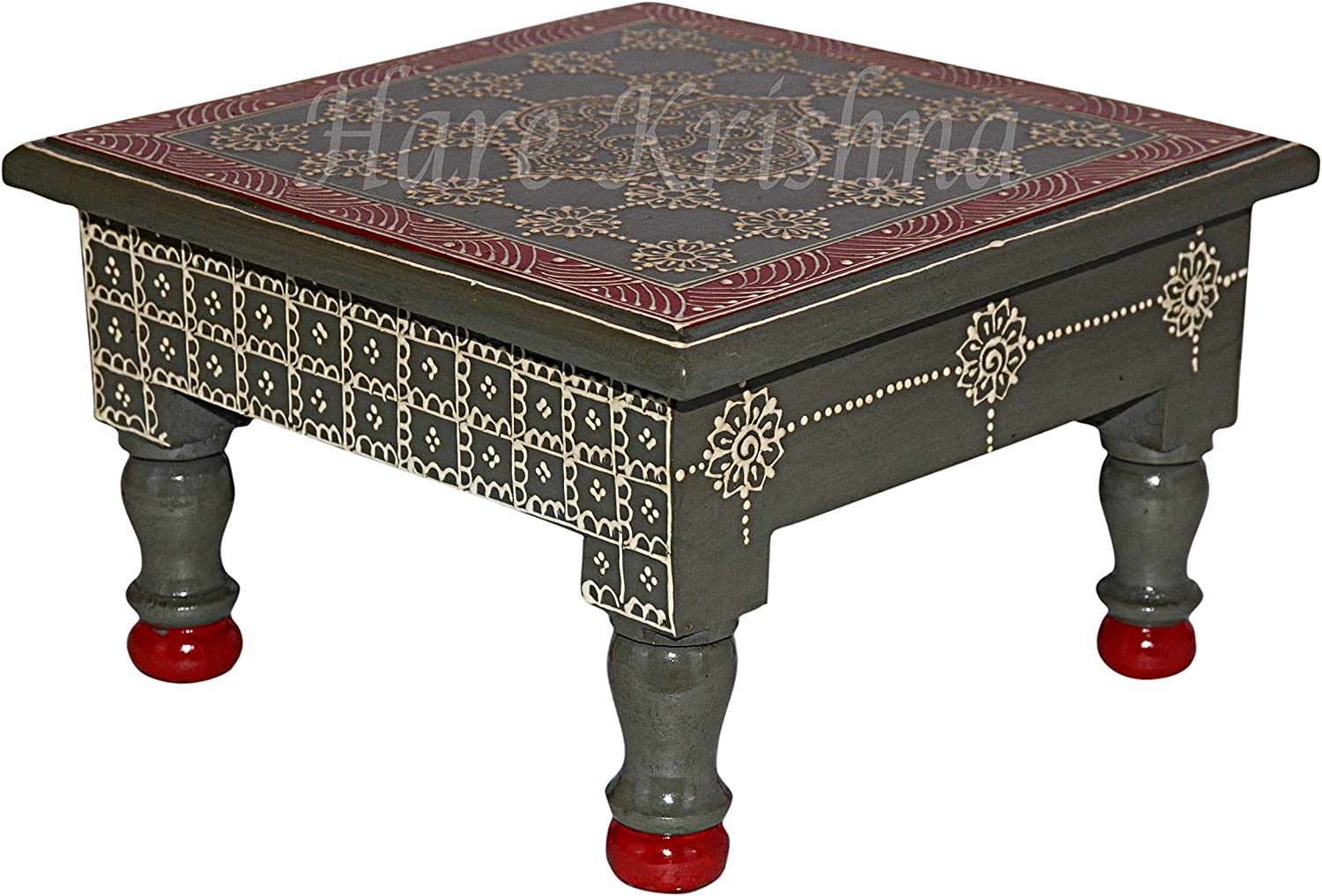 Home Decor Puja Chowki Small Painted Wooden End Side Table (Gray) 9 x 9 x 5.5 Inches