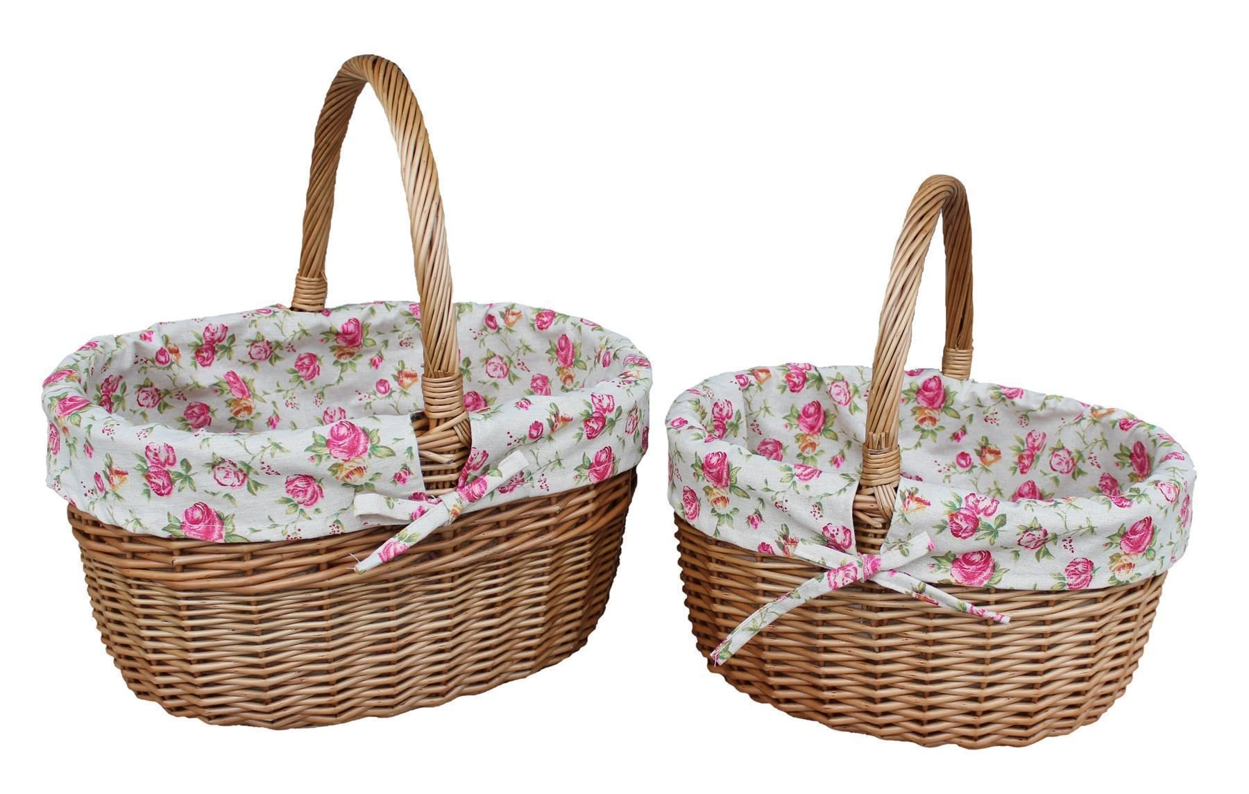 Set of 2 Rose Lined Double Steamed Hollander Shopping Basket