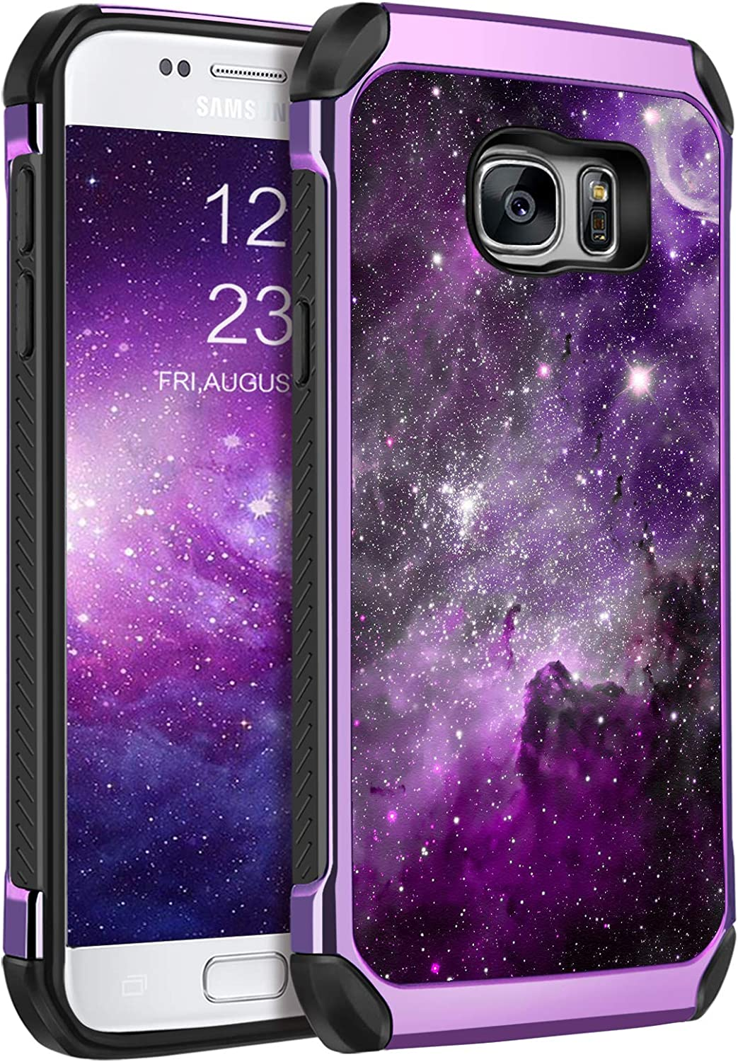 BENTOBEN Galaxy S7 Case, Phone Case Samsung S7, Slim Fit Glow in The Dark Shockproof Protective Dual Layer Hybrid Hard PC Soft TPU Bumper Drop Protection Non-Slip Girl Women Covers,Nebula/Space Design