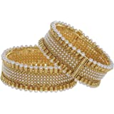 Zeneme Gold plated Pearl Studded Ethnic Traditional party wear Openable bracelet kangan bangles for Women Girls…