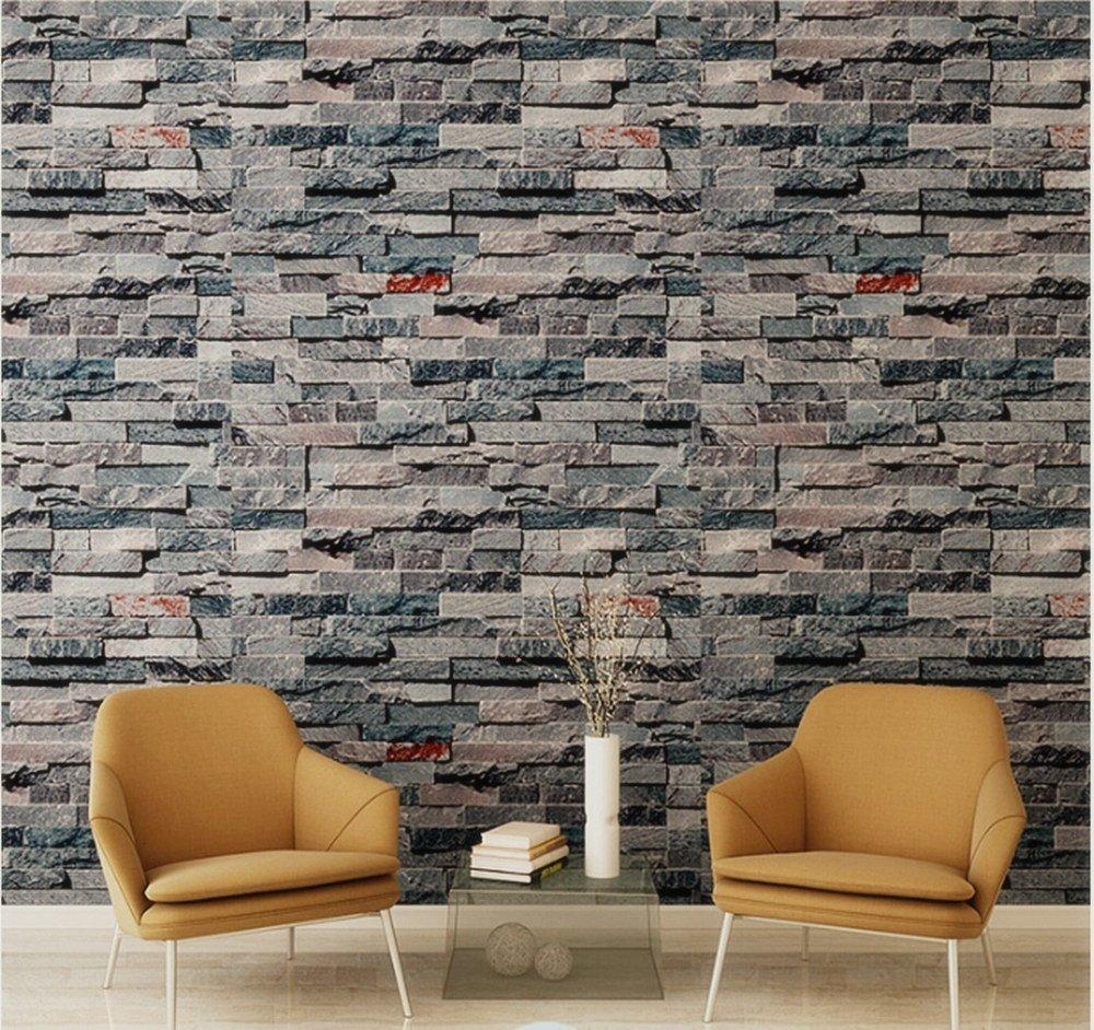 Birwall Cultural Faux Brick Stone Wallpaper 3d Kitchen Living Home  Decoration, 42, Multicolored - - Amazon.com