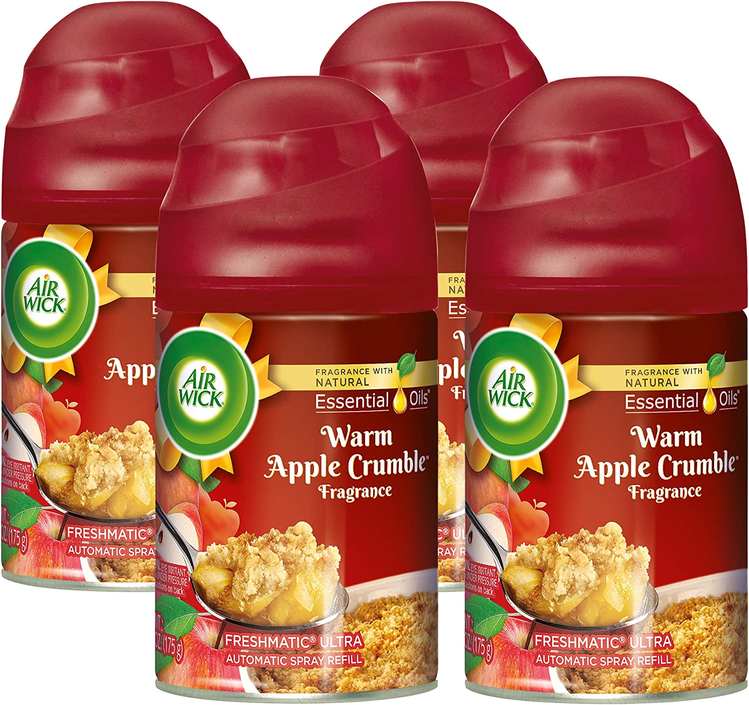 Air Wick Freshmatic Automatic Spray with Refill Air Freshener, Warm Apple Crumble, 4 Count
