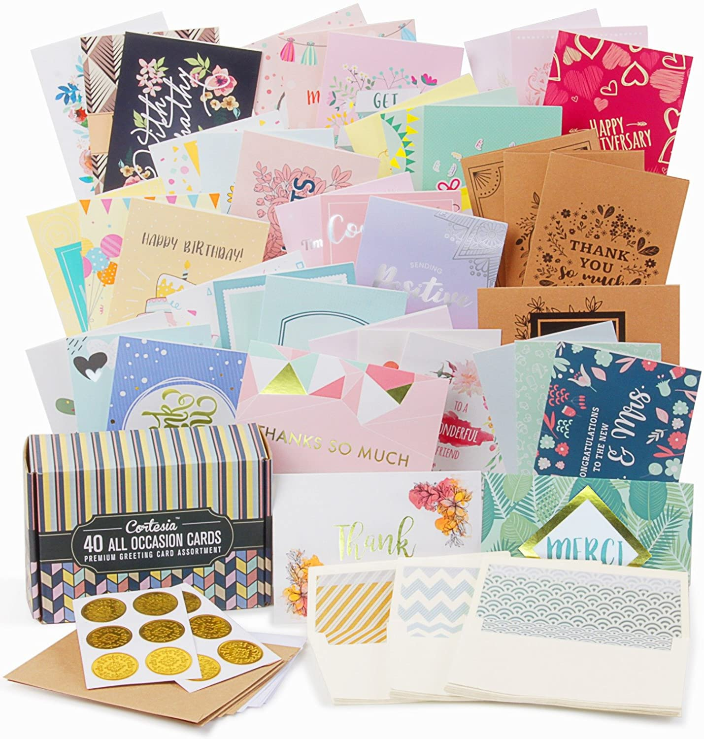 Amazon cortesia all occasion premium greeting cards assortment amazon cortesia all occasion premium greeting cards assortment 40 unique designs with gold and silver embellishments box set incl m4hsunfo