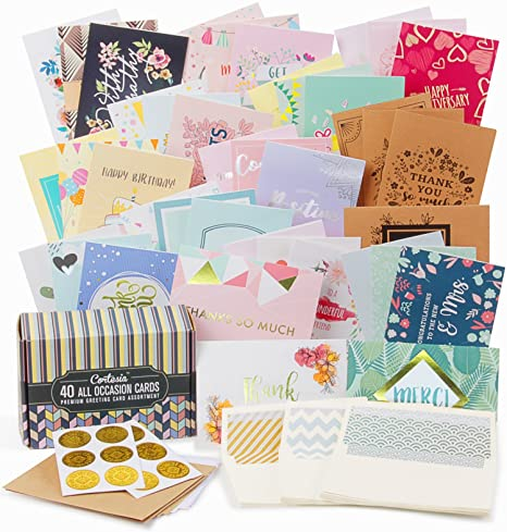 Cortesia All Occasion Premium Greeting Cards Assortment   40 UNIQUE DESIGNS  With GOLD And SILVER EMBELLISHMENTS