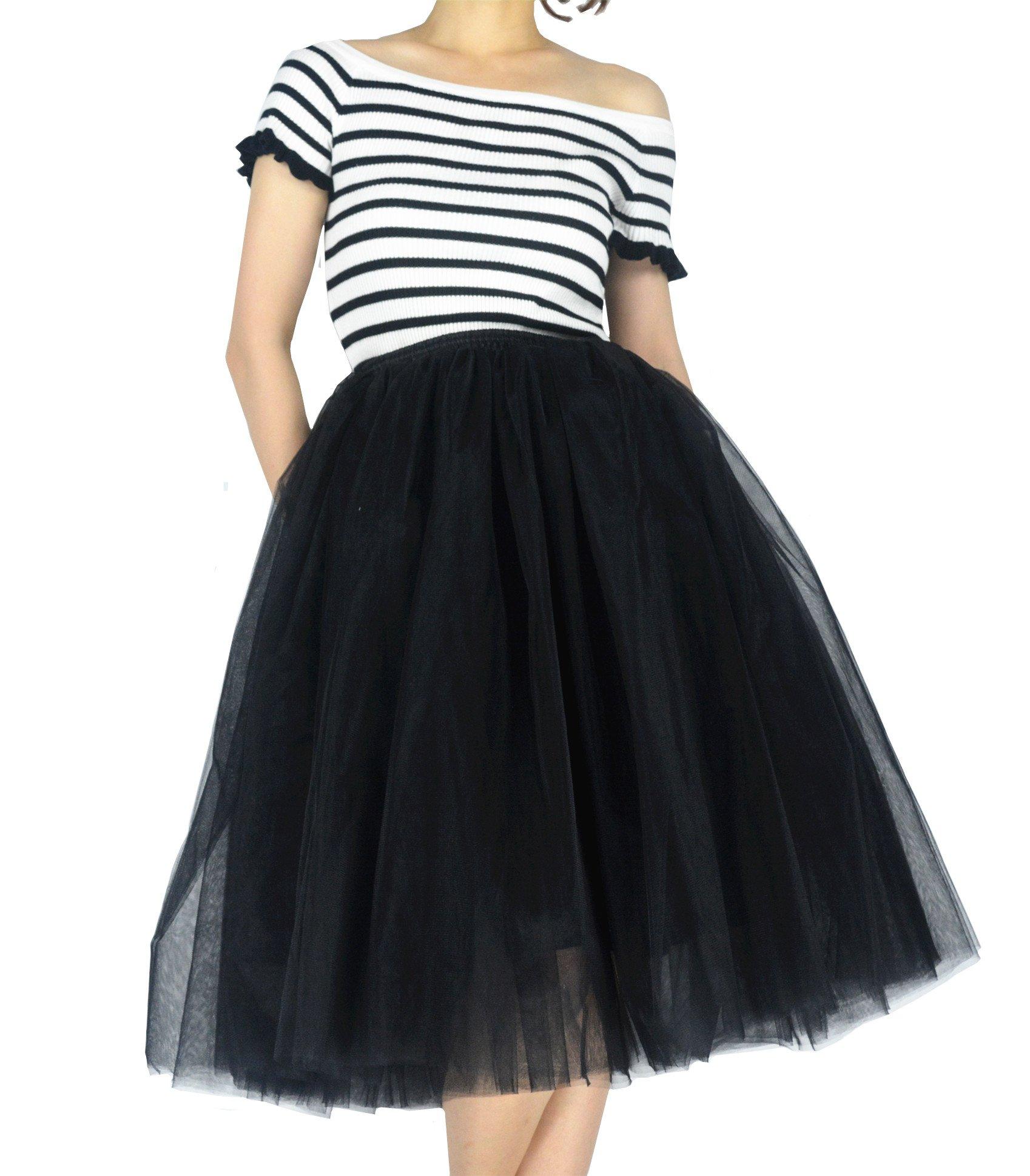 YSJERA Women's Layered Adult Tutu Tulle Midi/Knee Length A Line Prom Party Skirt Petticoat (L, Black)