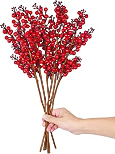 6 Pack Artificial Red Berry Stems 27.5Inch Christmas Holly Berry Branches for Christmas Tree Decorations Crafts Decor