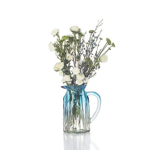Ekirlin Jarrón de Cristal con Forma de Flor, jarrón Azul para Mesa ...