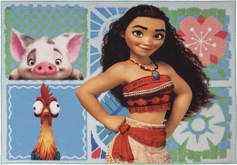 Gertmenian Disney Moana Rug Kids Pua Carpet, 5x7 Large, Sky Blue