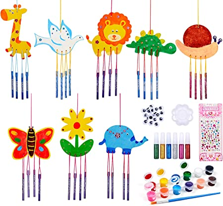Latocos 8 Pcs Wind Chimes DIY Wooden Wind Chime Kit Garden & Home Decoration Creative Handmade Materials Gifts for Birthday Party Favors Craft Kits for Kids