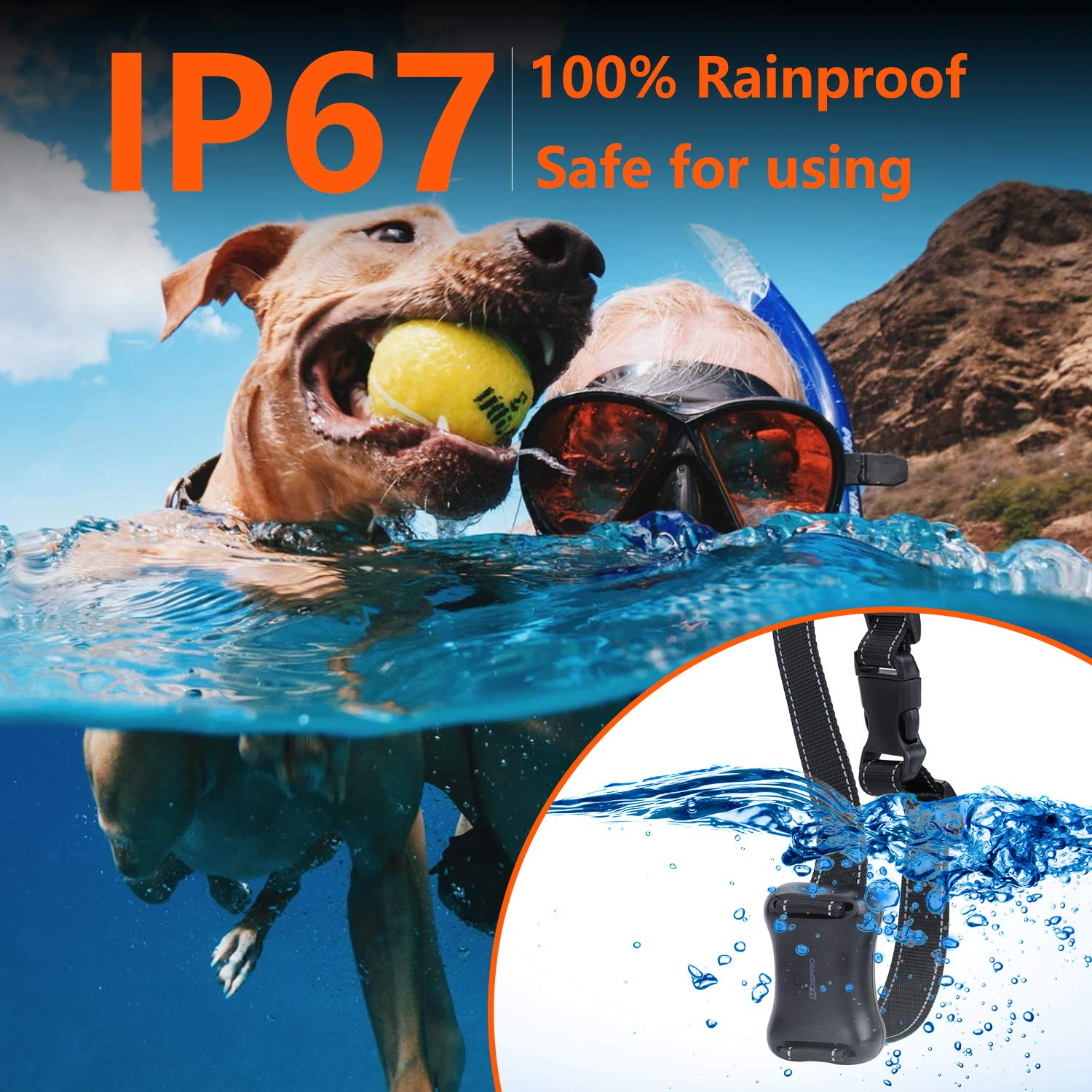 Shock Collar for Dogs - Dog Training Collar with Remote 1000Ft Rechargeable Rainproof Anti Bark E Collar,Beep Vibration Shock for Small Medium Large Dogs (2018 New) by MOSPRO (Image #5)