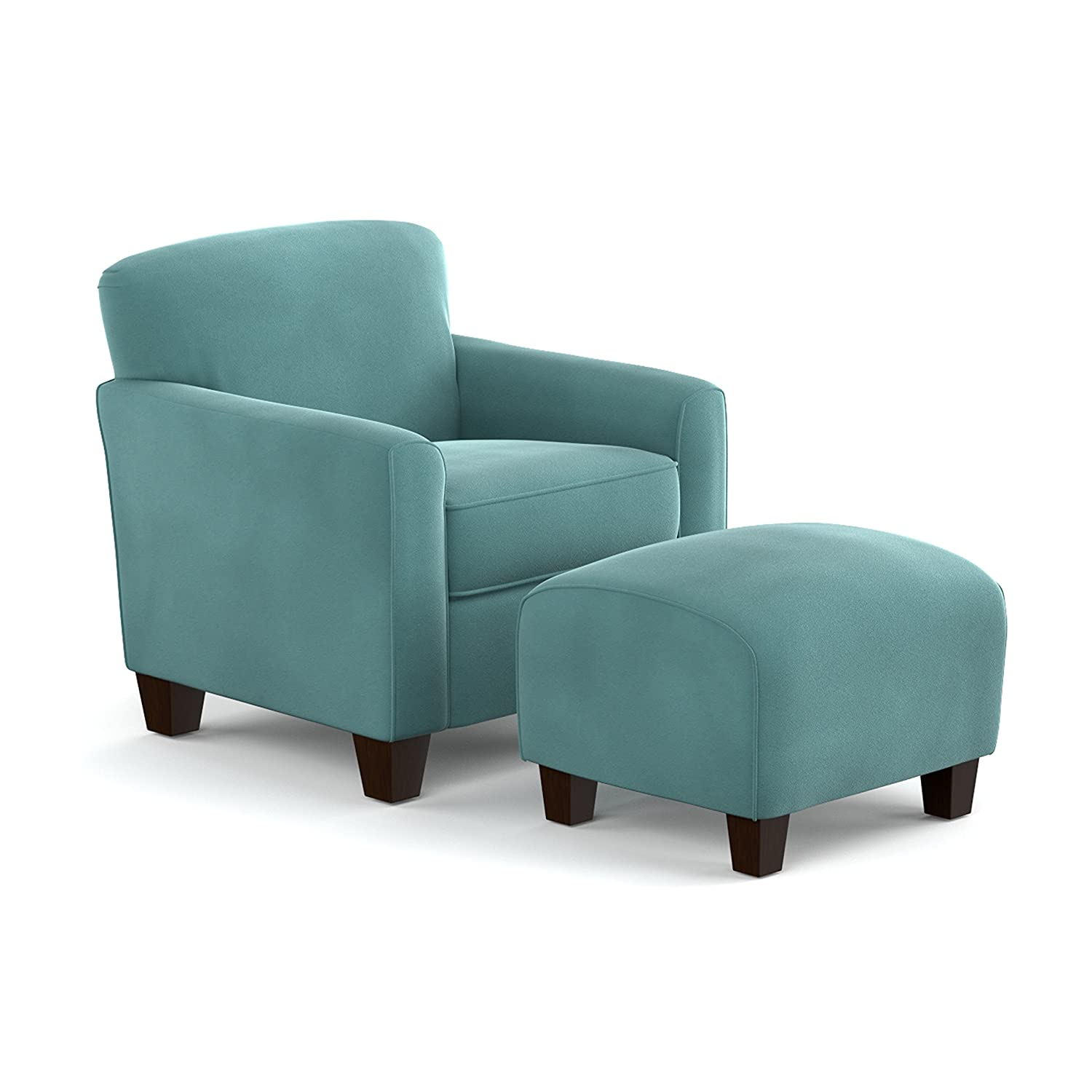 Genial Amazon.com: Domesis Littleton Chair And Ottoman In Turquoise Velvet:  Kitchen U0026 Dining