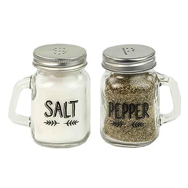 Deluxe Salt and Pepper Mason Glass Jar Shaker Set