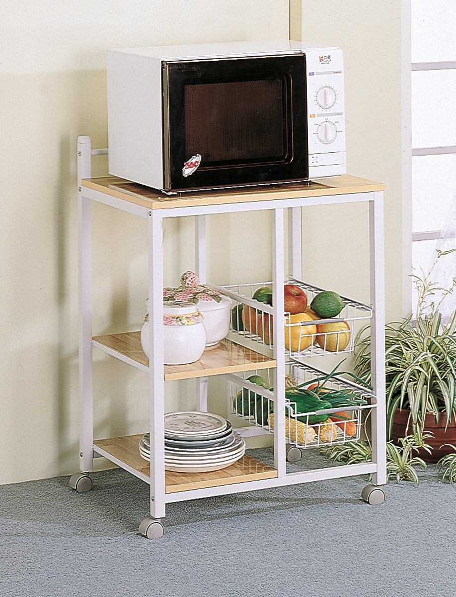 3-shelf Kitchen Cart with 2 Storage Compartments Natural Brown and White