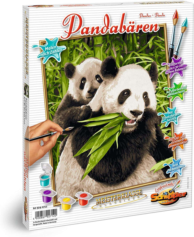 10 Acrylfarben Pandas Malen nach Zahlen 30 x 40 cm