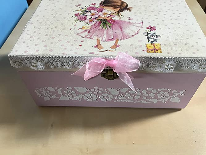 Caja madera decorada a mano pintura relieve para regalo bebé/infantil: Amazon.es: Handmade