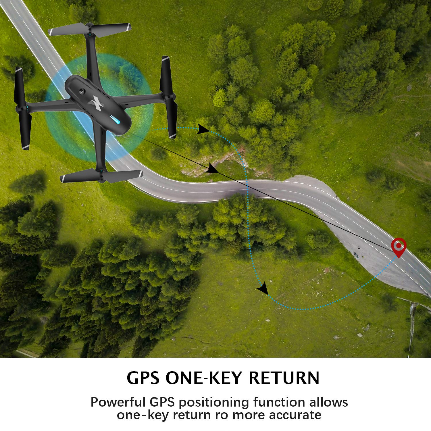 Adjustable WiFi Camera RC Quadcopter with GPS Return Home APP Control,5G WiFi Transmission,Follow Me Easy to Fly for Beginners. Drones for Adults,GPS FPV Drone with 1080p HD Camera Live Video