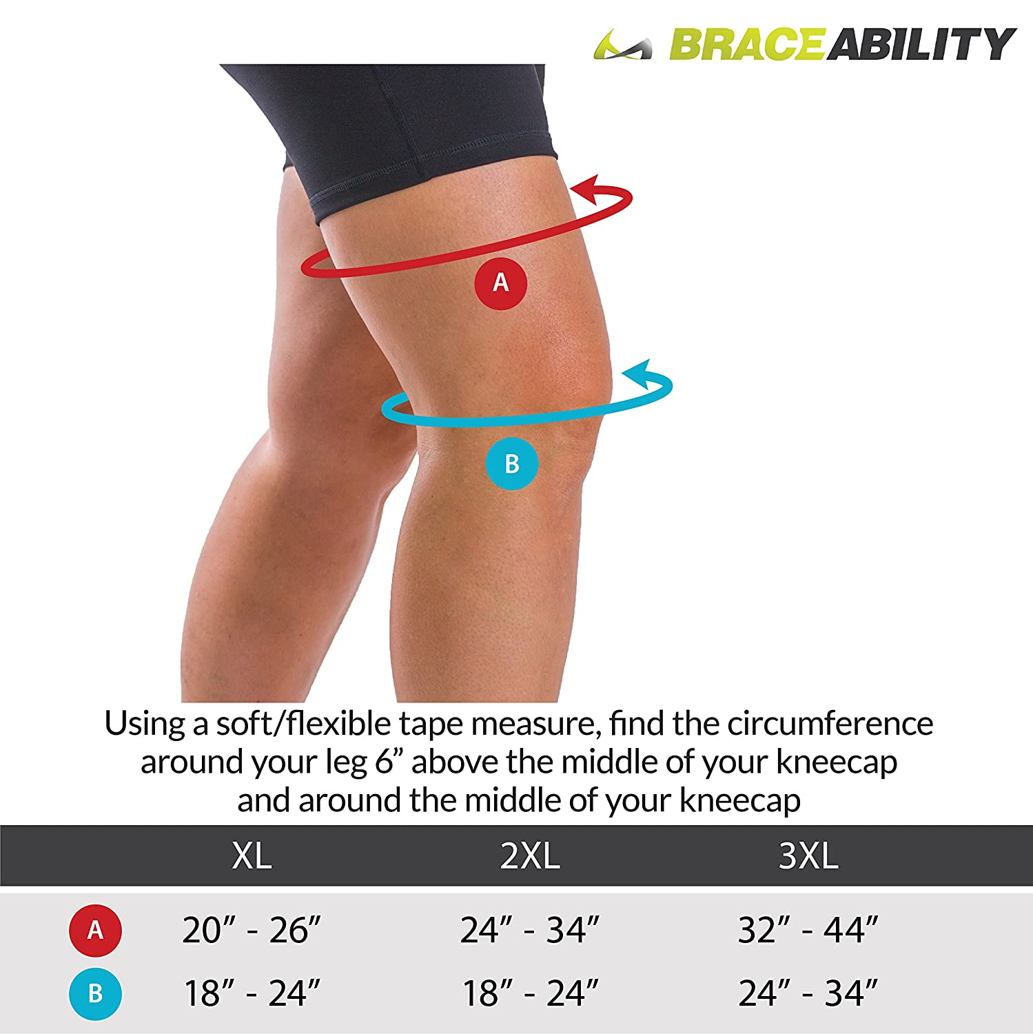 4860378e7a Amazon.com: BraceAbility Big & Tall Husky XXL Knee Wrap | King & Queen Knee  Support for Wide Thighs and Extra Large Legs (2XL): Health & Personal Care