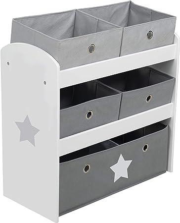 Estantería para juguetes Roba Stars, estantería para juguetes con cinco cajas de plástico para niños, estantería para guardar la habitación de los ...