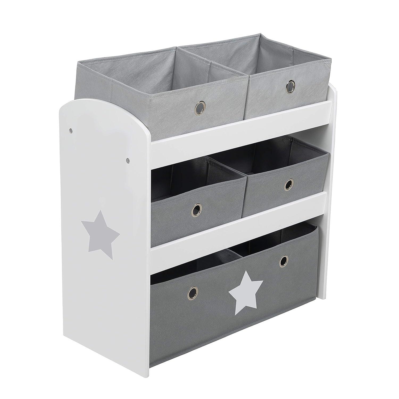 Roba Star /Étag/ère /à jouets avec 5 bo/îtes en tissu pour enfants