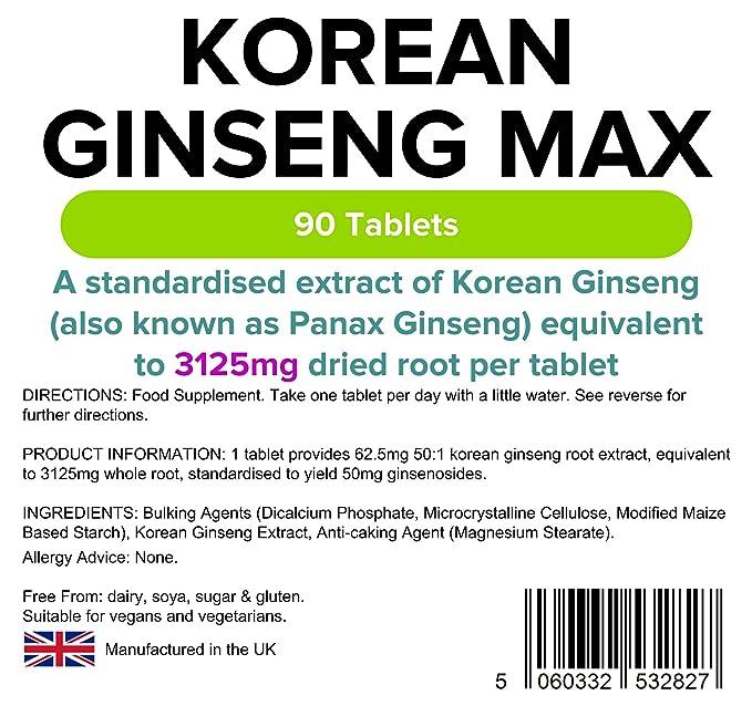 Lindens Ginseng coreano Max (Panax) 3125 mg en comprimidos | 90 Paquete | Un extracto estandarizado de ginseng coreano (también conocido como Panax Ginseng) ...