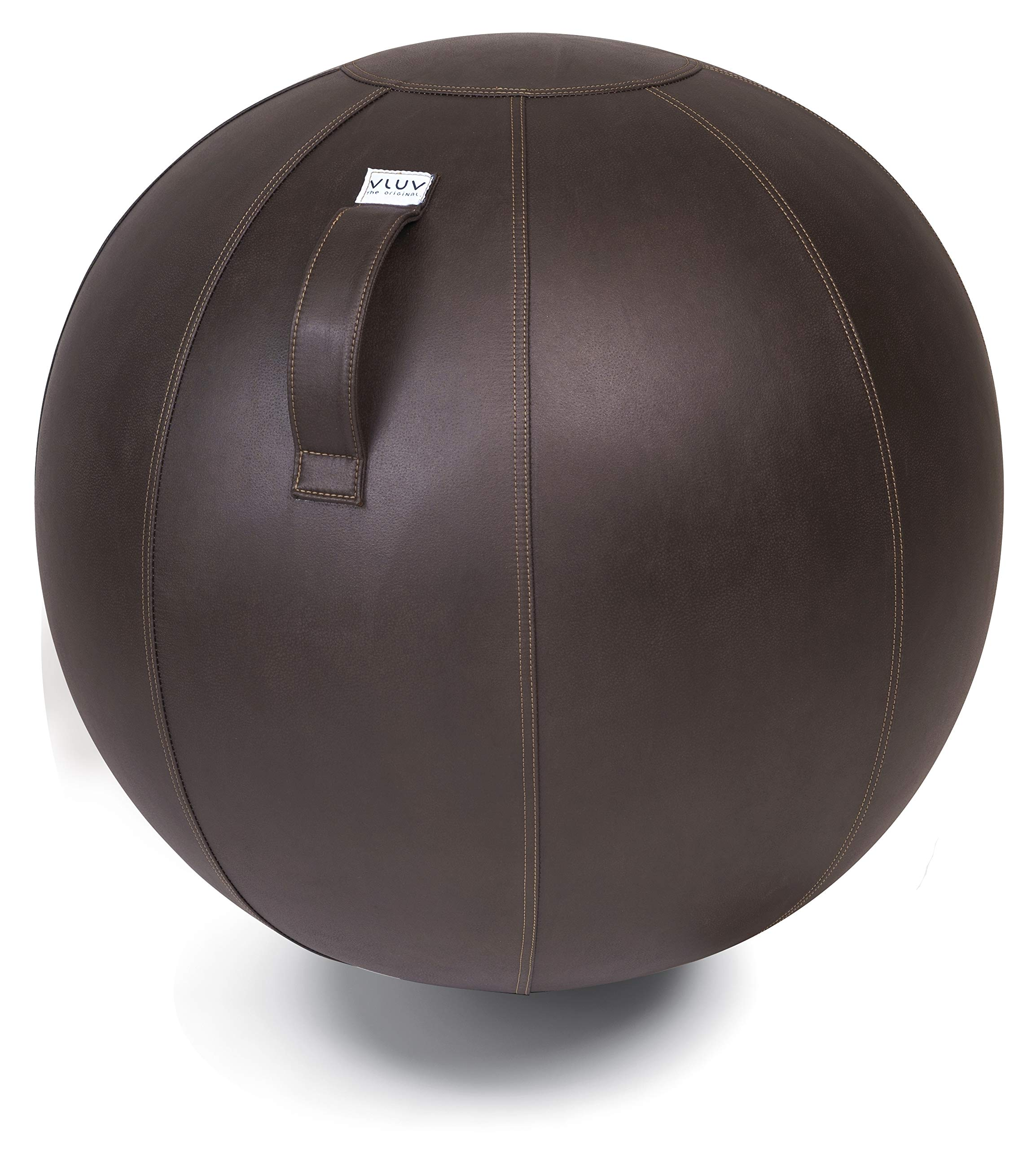 VLUV VEEL 29.5'' Premium Quality Self-Standing Sitting Ball with Handle - Home or Office Chair and Exercise Ball for Yoga, Back Stretching, and More - Made in Europe (Mocca, 25.6'')