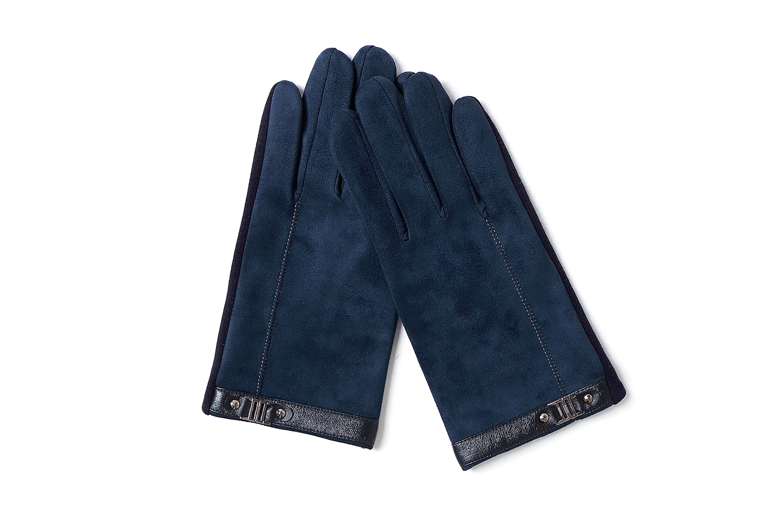 YISEVEN Men's Suede Chamois Leather Gloves Touchscreen Flat Design Plain Lined Luxury Soft Hand Warm Fur Heated Lining for Winter Spring Stylish Dress Work Xmas Gift and Motorcycle Driving, Blue M by YISEVEN (Image #5)