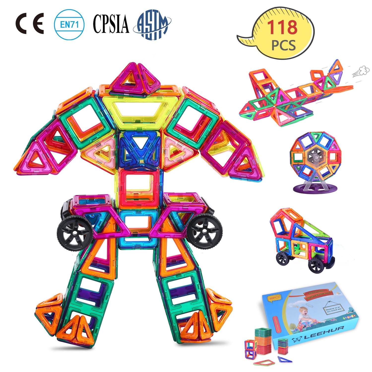 LEEHUR 118 Pcs Magnetic Tiles Magnet Building Blocks -100 Model- Large Size-STEM Educational Toys Preschool Activities Supplies with Storage Bag Creative Fun Science Kit Gifts for Kids Boys Girls Review