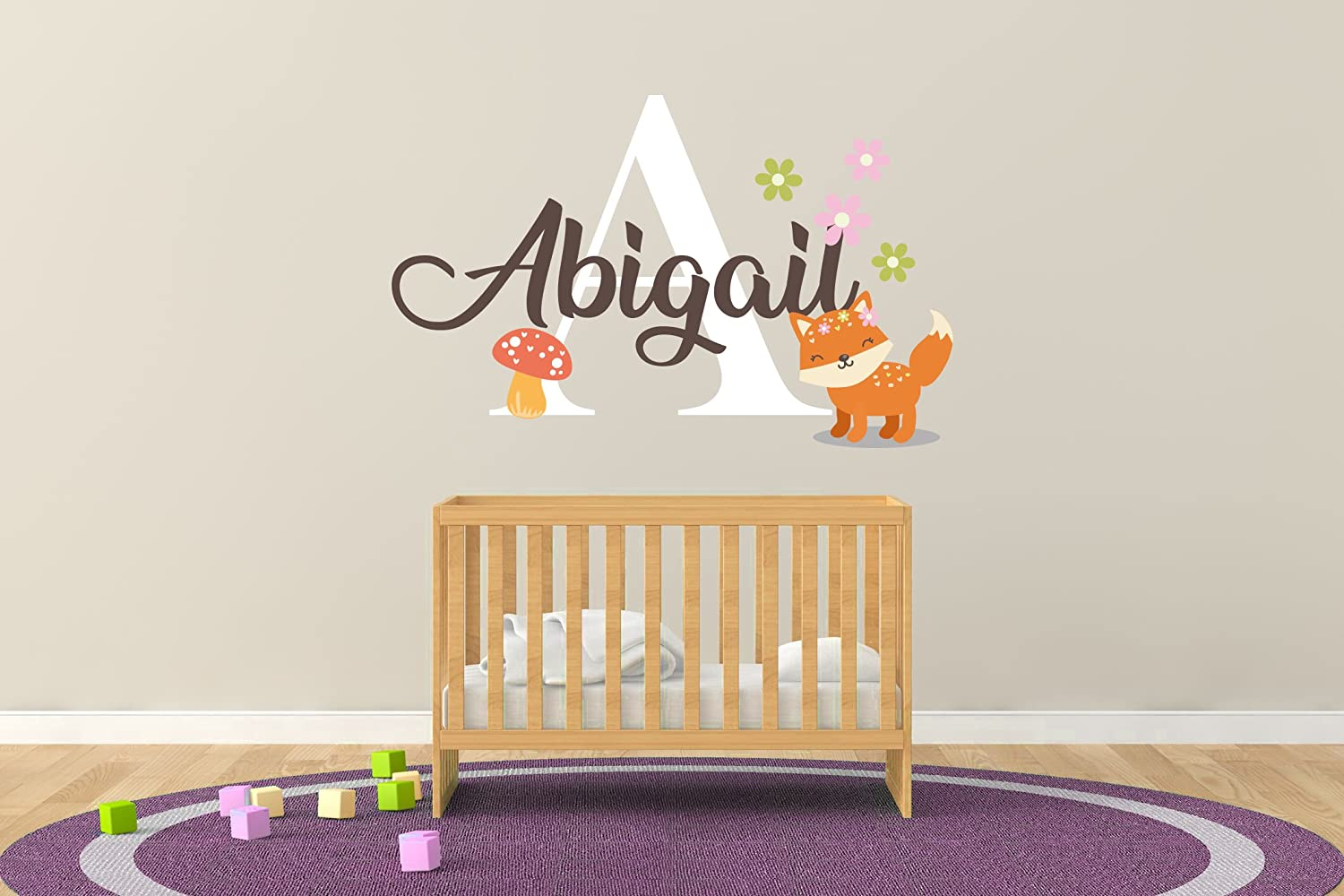 R132 Mural Wall Decal Sticker for Home Childrens Bedroom Nursery Wall Decal for Baby ROM Decorations Baby Girl Custom Name /& Initial Fox Flowers and Fungus Wide 22 x 7 Height