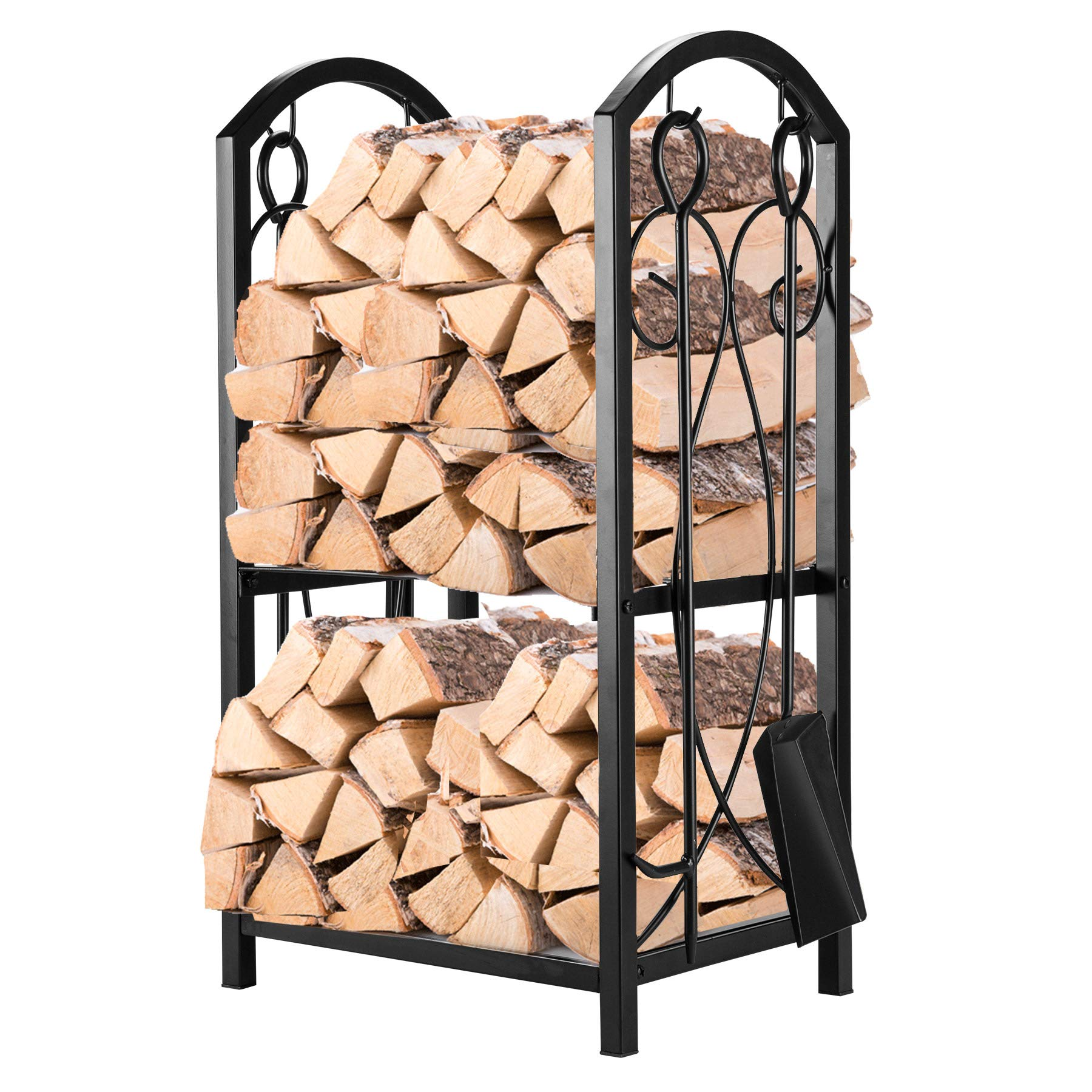 Pinty Firewood Log Rack with 4 Tools Firewood Storage Fireplace Tool Set Indoor Outdoor Wrought Iron Firewood Holders Lumber Storage Stacking Black by Pinty