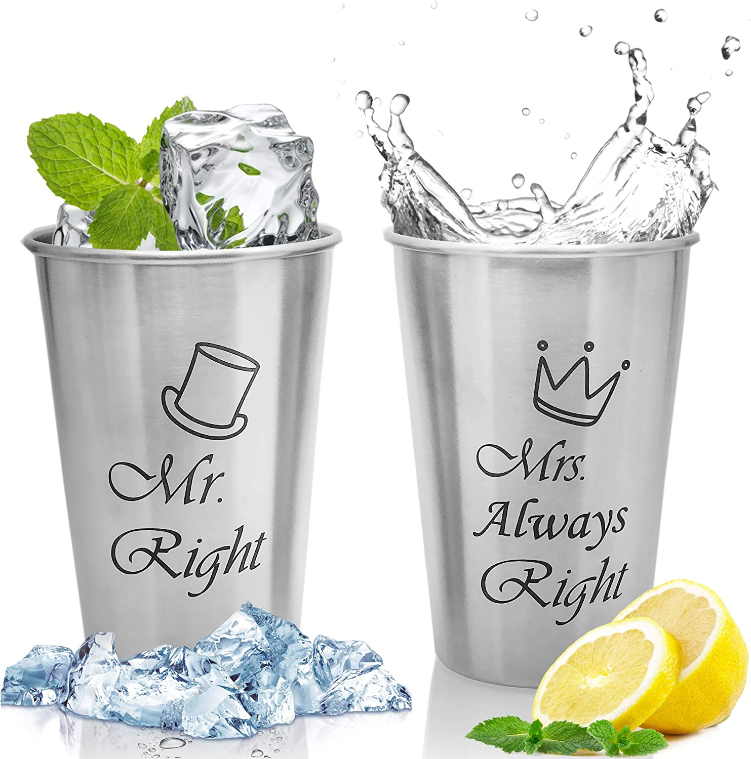 Image of two stainless cups with water and lemon slices below it. Mr. Right and Mrs. Always Right prints on the surface.