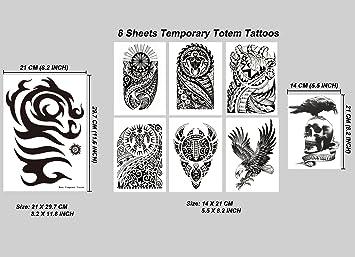 e1cb19374b576 Amazon.com : Kotbs 8 Sheets Temporary Tattoo for Men Women Waterproof Large  Totem Temporary Tattoos Sticker Body Art Makeup Fake Tattoo Paper : Beauty