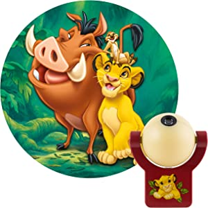 Projectables Disney LED Plug-in Night, Kids, Light Sensing, Auto Simba, Timon, Pumbaa on Ceiling or Wall, for Bedroom, Playroom, Nursery, 43845, Lion King | 1-Image